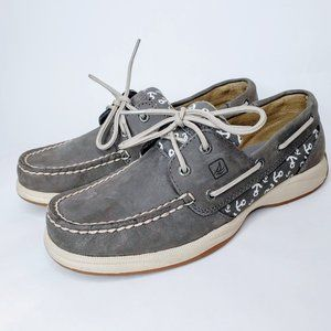 Sperry Grey Leather Laced Women's Top-Siders - 6.5